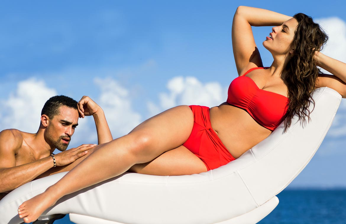 WOman in Red Plus Size Swimsuit