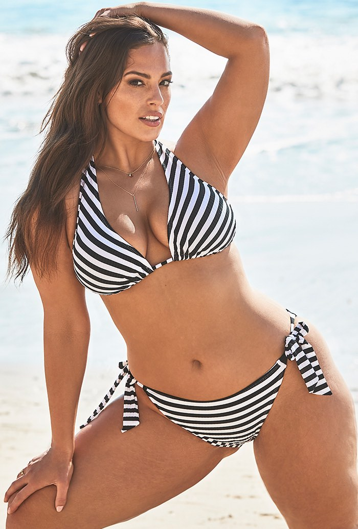 Ashley Graham Elite Striped Ribbed Bikini