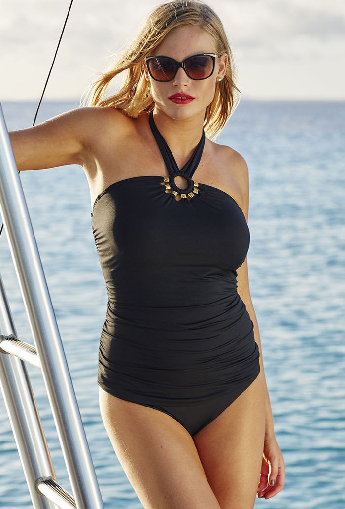 Black Beaded Halter Tankini