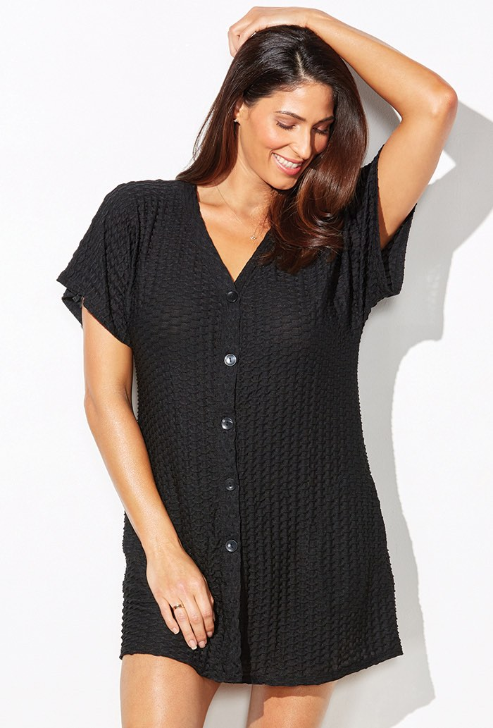 Black Button Up Knit Tunic Swimsuit Cover Up