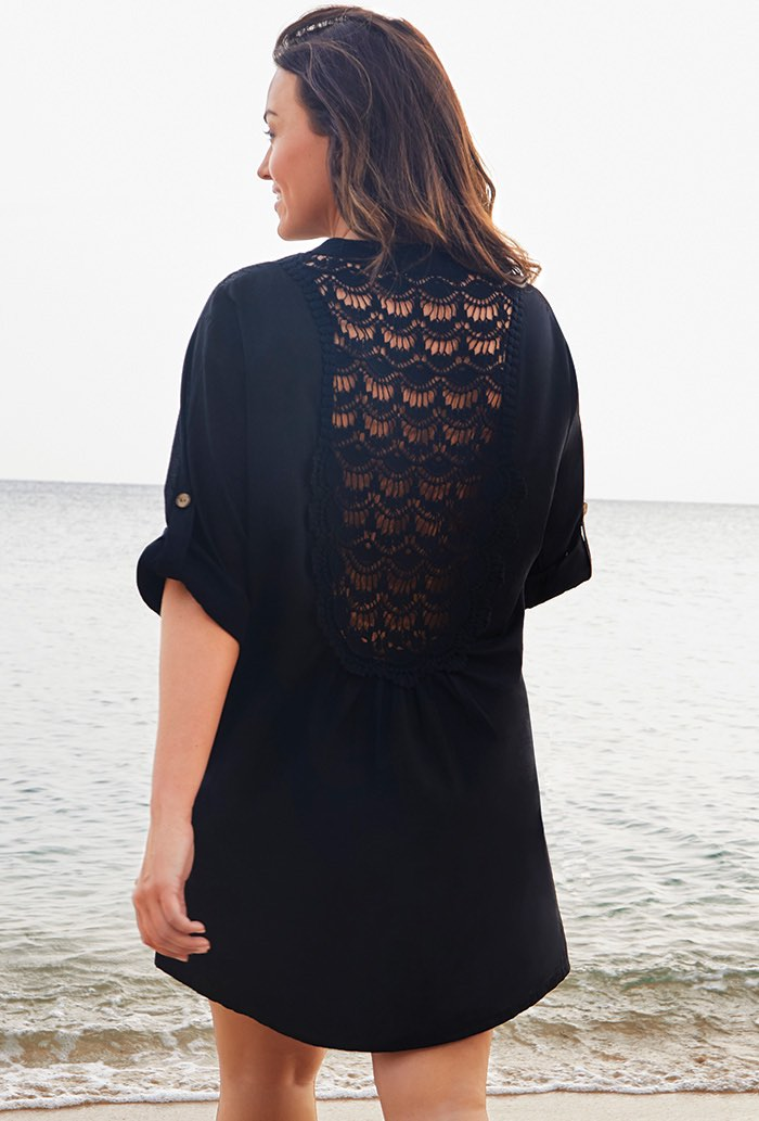 Black Button Up Shirt Swimsuit Cover Up
