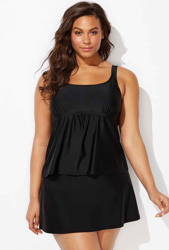 Black Flared Tankini Set with Skirt