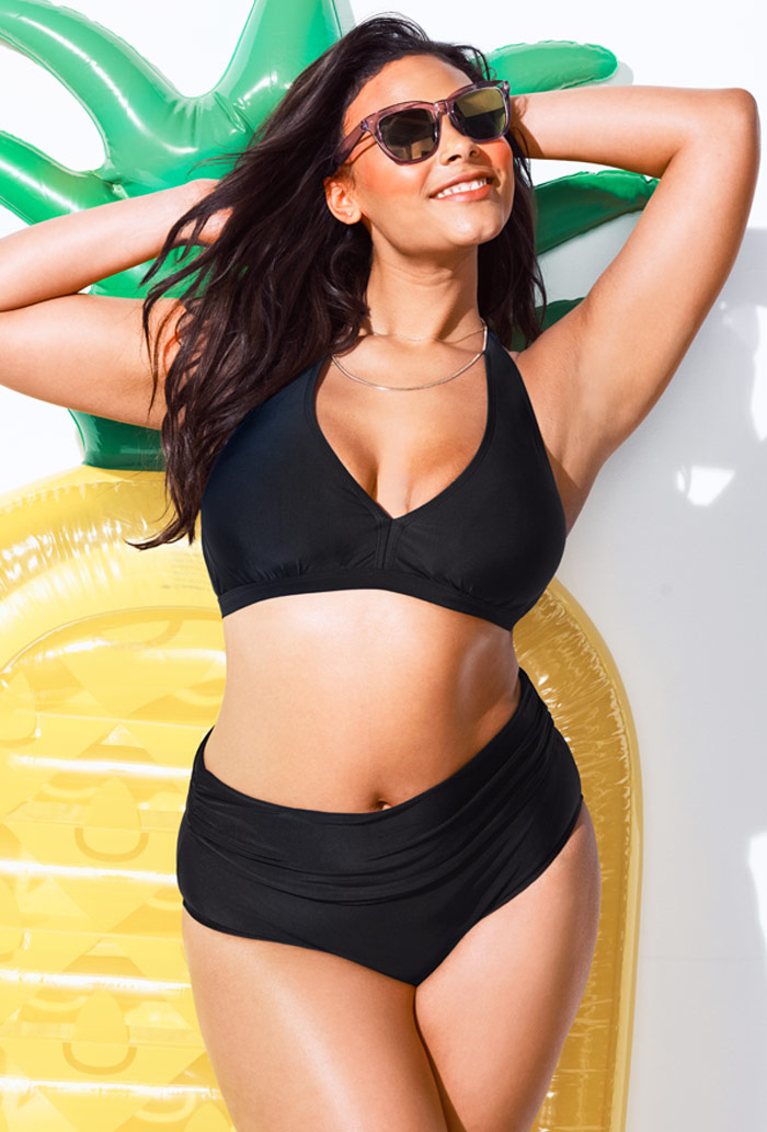 Black Fold over Bottom Halter Bikini Set