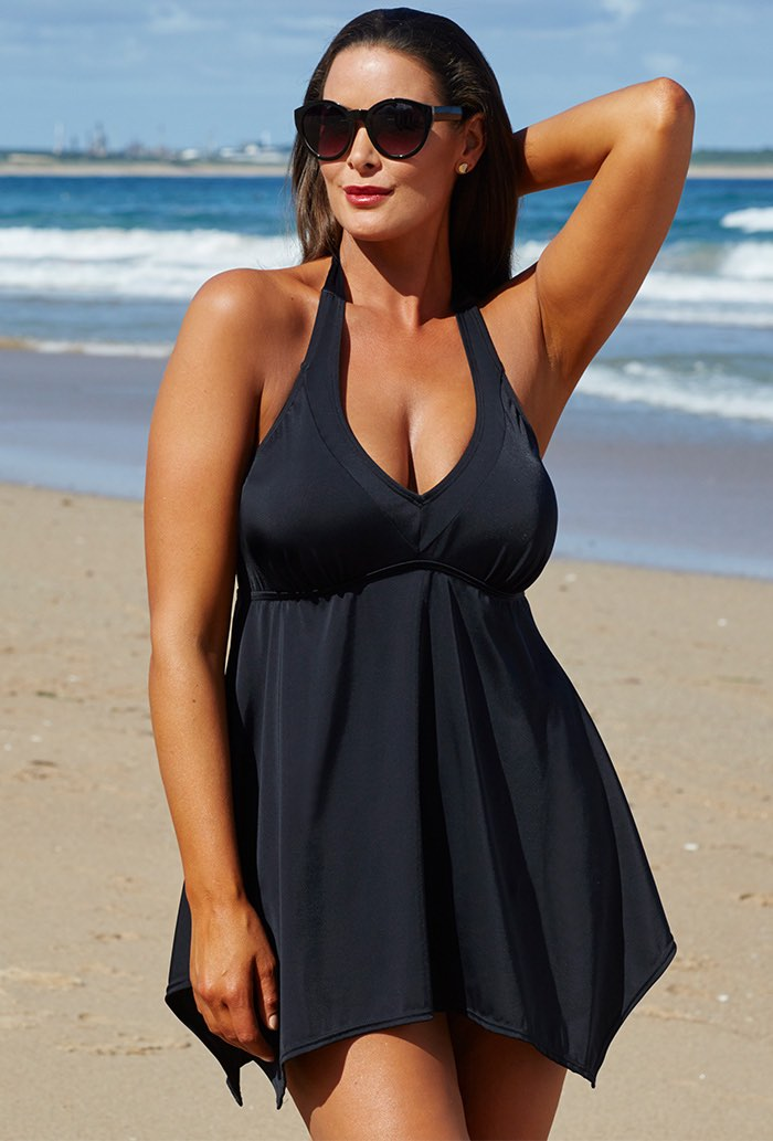 Black Handkerchief Two-Piece Swimdress Set