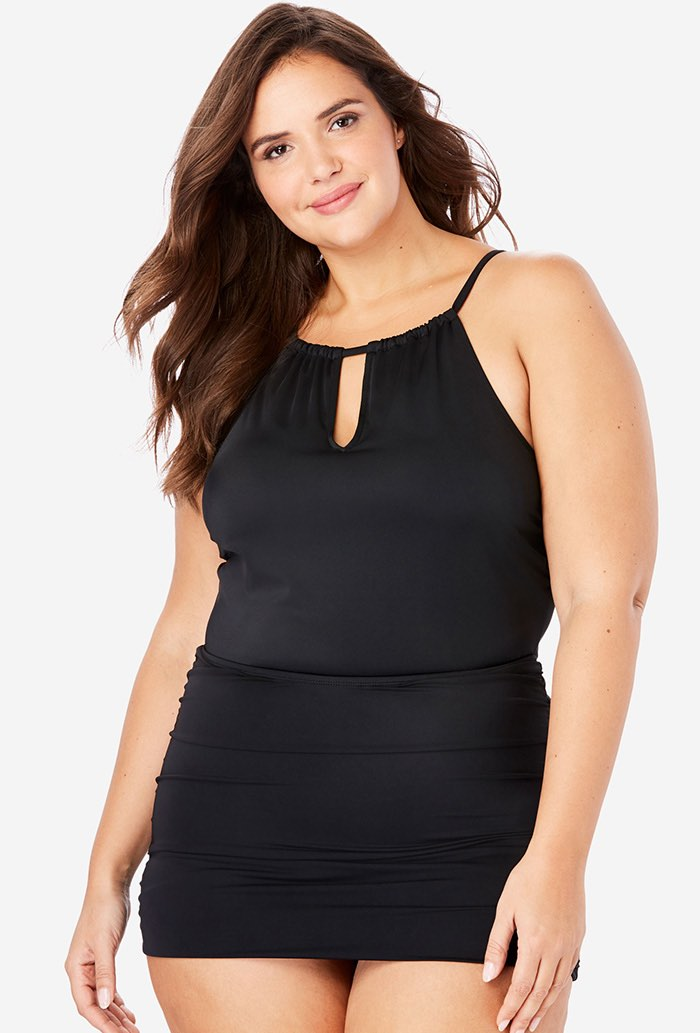 Black Keyhole Shirred Halter Swimdress