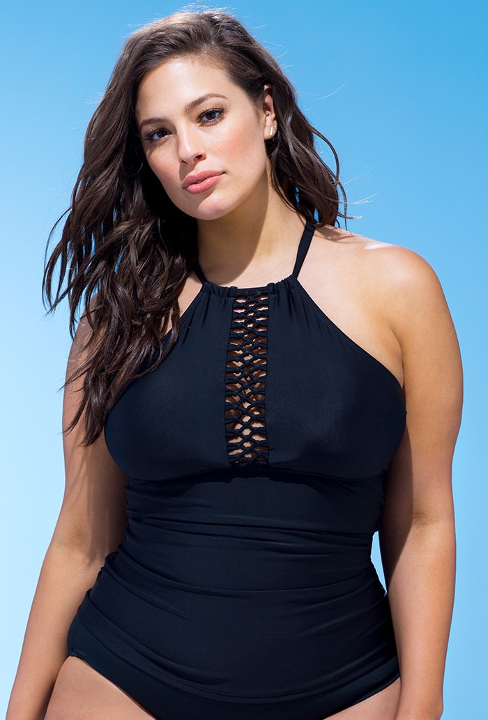 Black Macrame High Neck Tankini Top