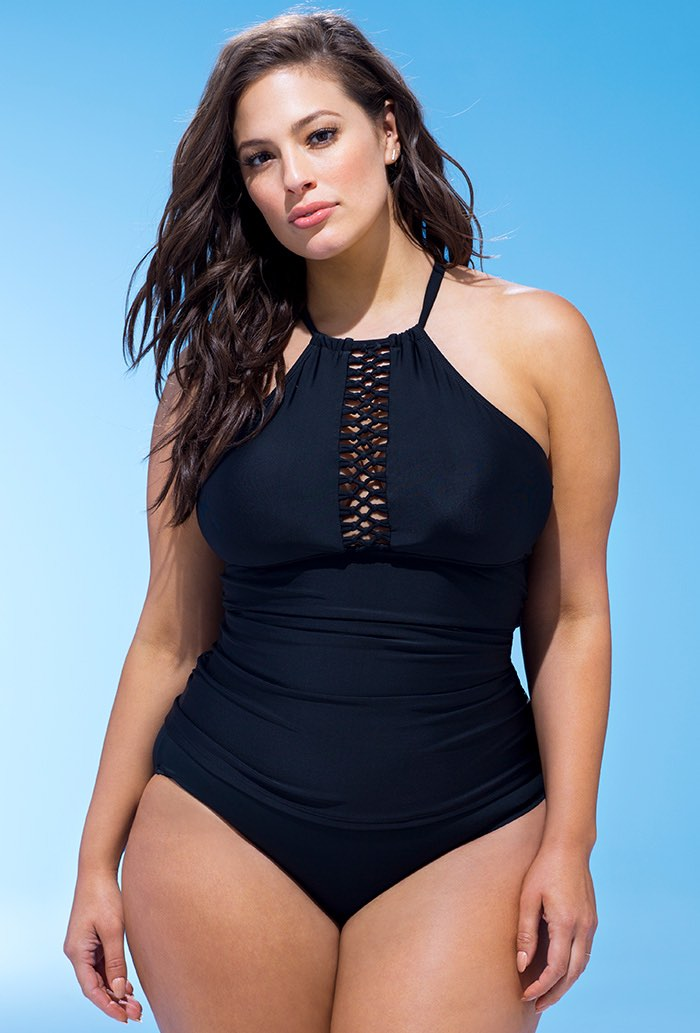 Black Macrame High Neck Tankini