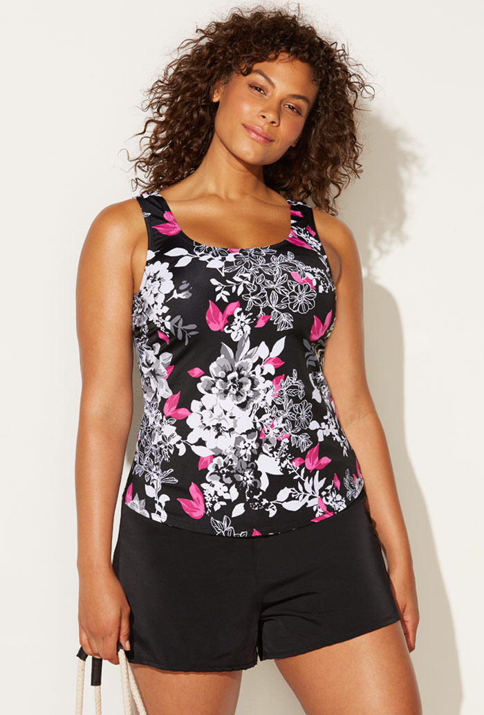 Black Pink Floral Tankini Set with Short