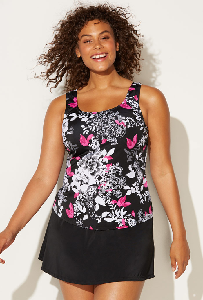 Black Pink Floral Tankini Set with Skirt