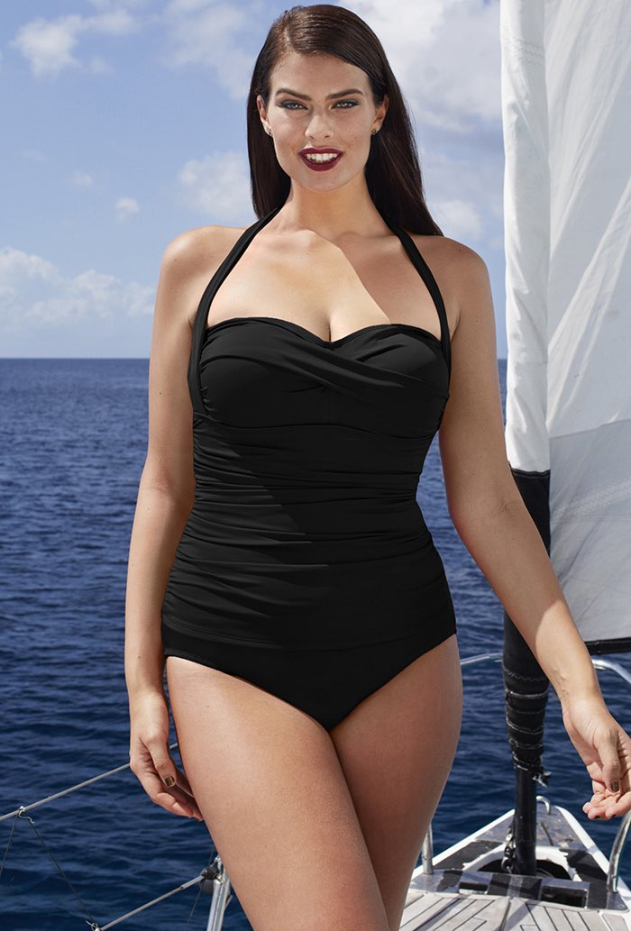 Black Ruched Tankini Set