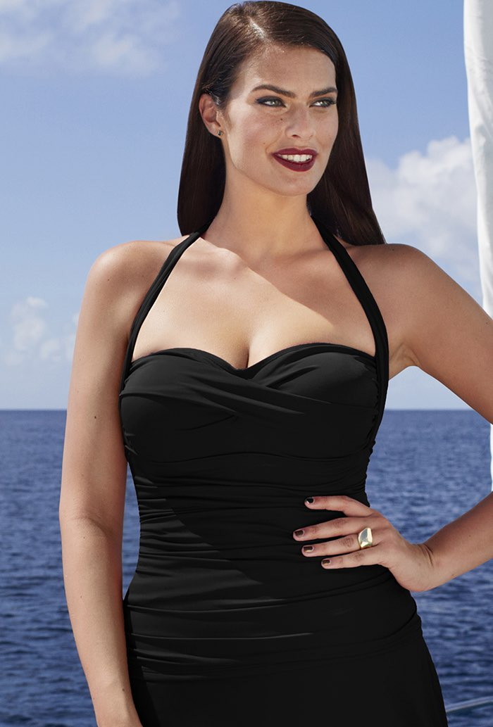 Black Ruched Tankini Top