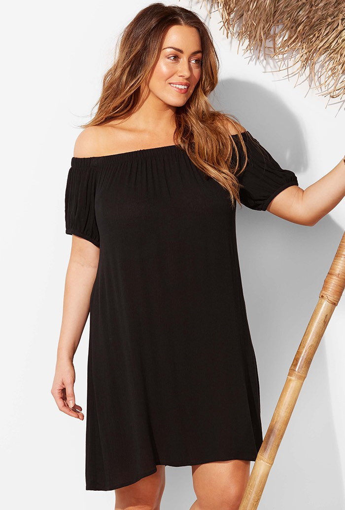 Black Strapless Dress Swimsuit Cover Up