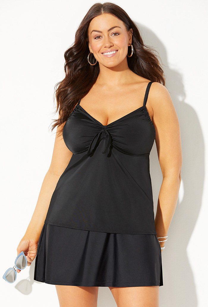 Black Tie Front Underwire Tankini Set with Skirt