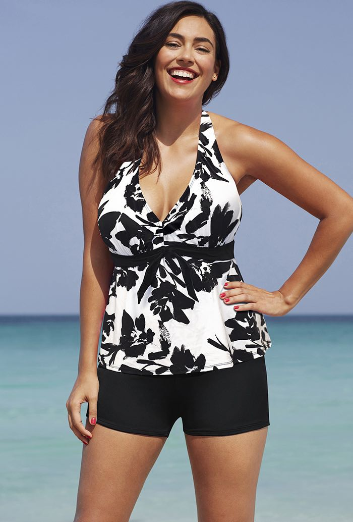 Black White Floral Halter Tankini Set with Short