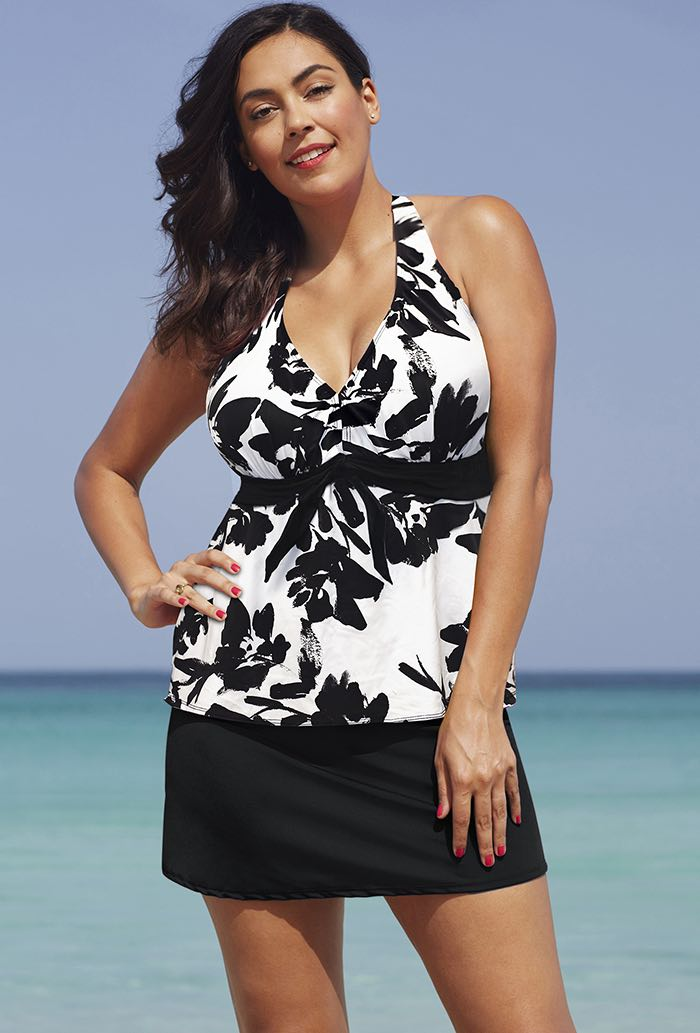 Black White Floral Halter Tankini Set with Skirt