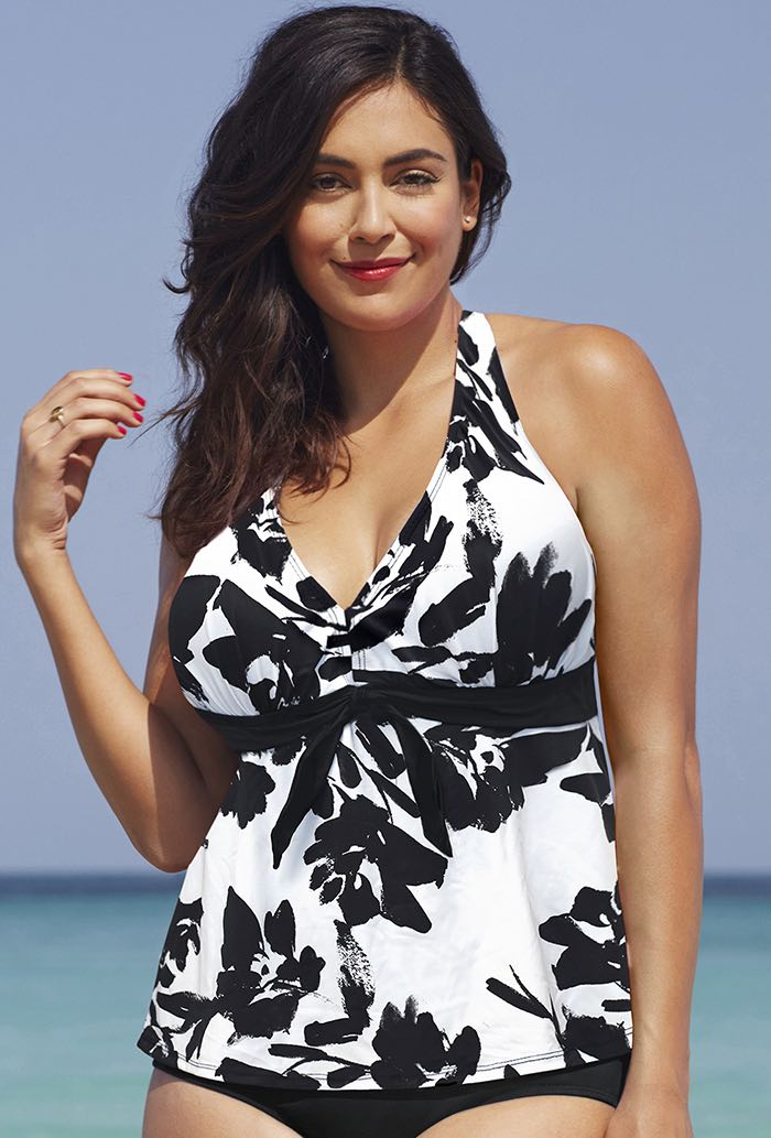 Black White Floral Halter Tankini Top