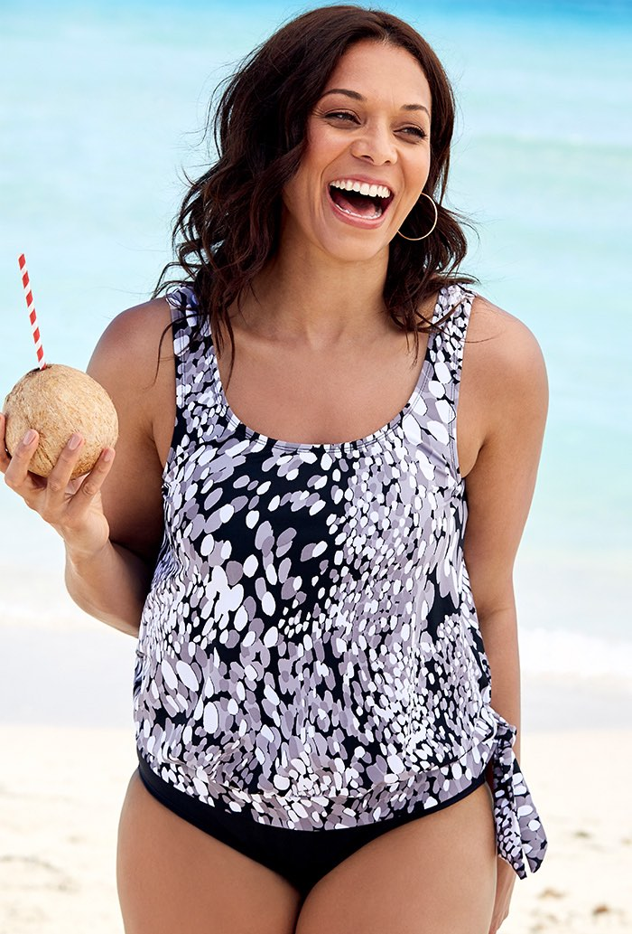 Black and White Blouson Tankini Top