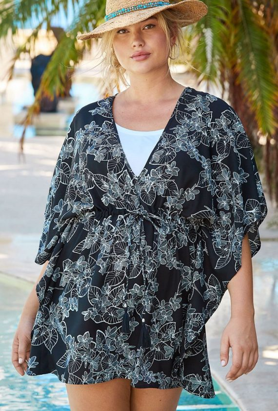 Black and White Floral Beaded Tassel Tunic