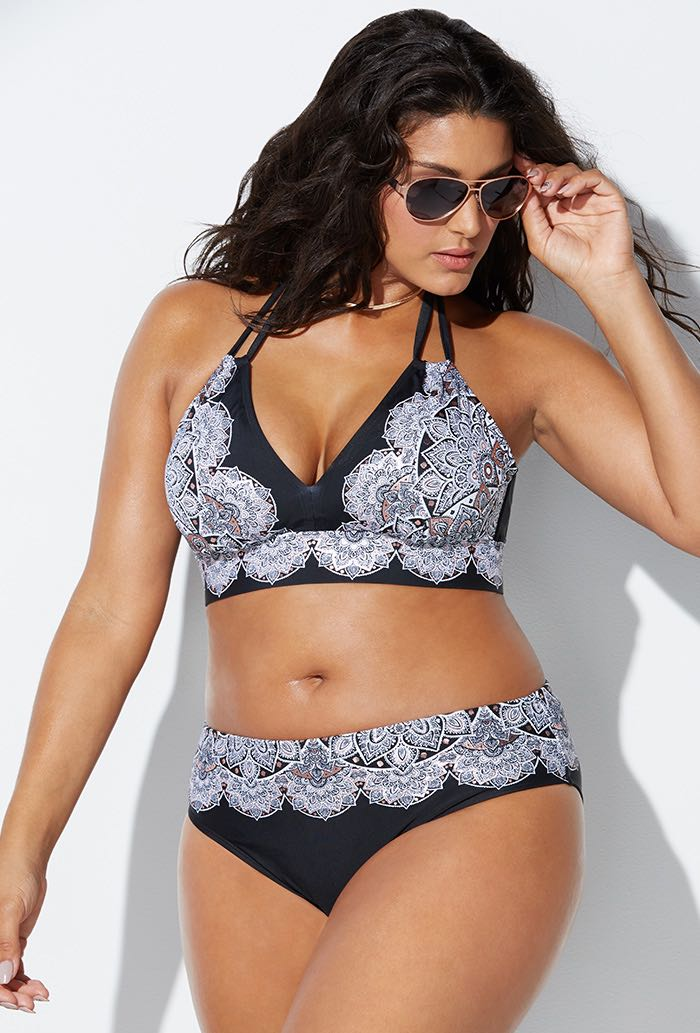 Black and White Foil Bikini Set
