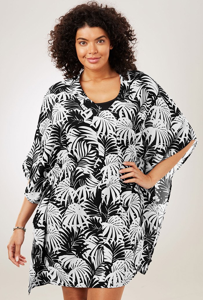 Black and White Palm Caftan Tunic
