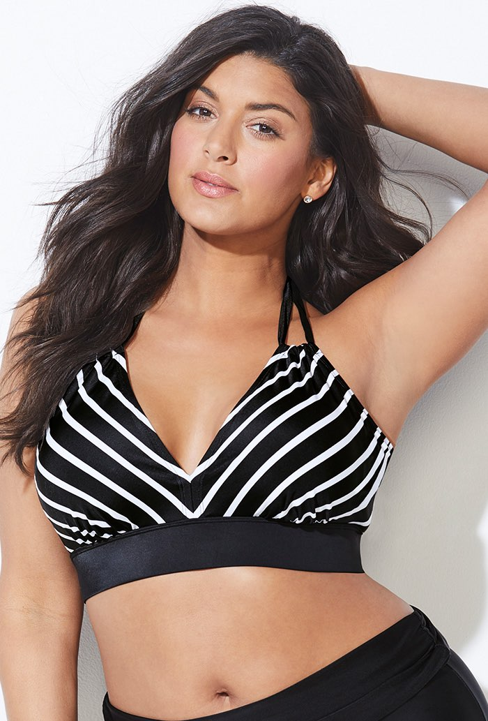 Black and White Stripe Bikini Top