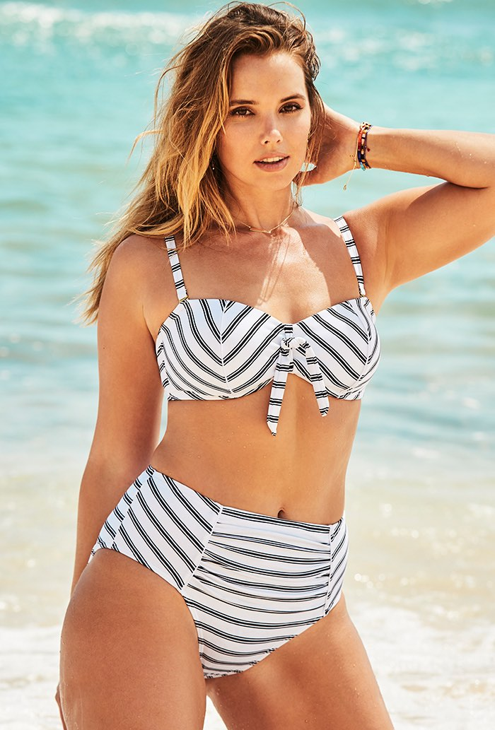 Black and White Stripe Underwire Bikini