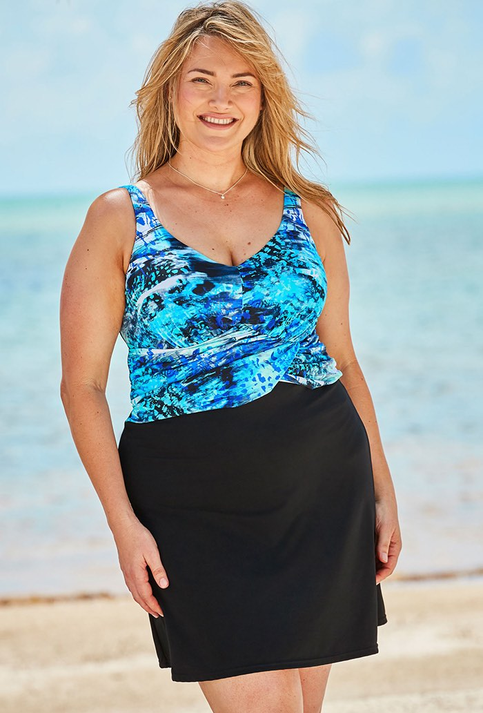 Blue Abstract Faux Wrap Underwire Swimdress Plus Size Swimwear