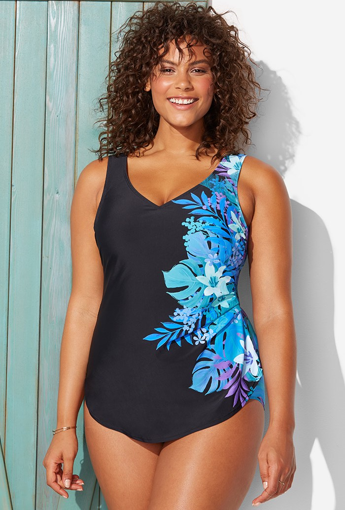 Blue Floral Sarong Front One Piece Swimsuit