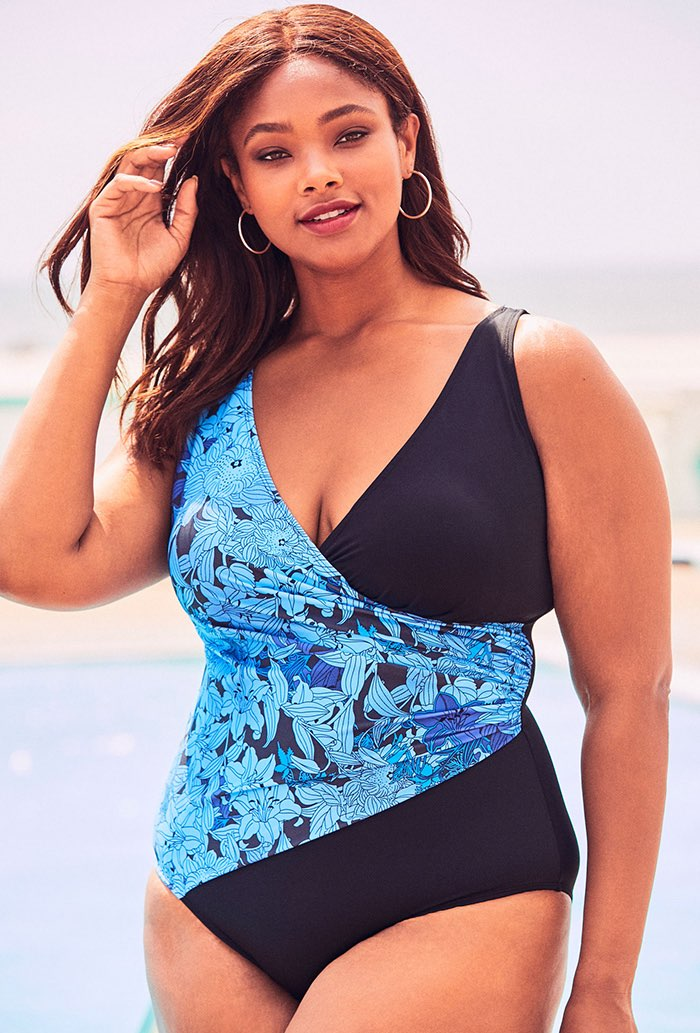 Blue Floral V-Neck Surplice One Piece Swimsuit