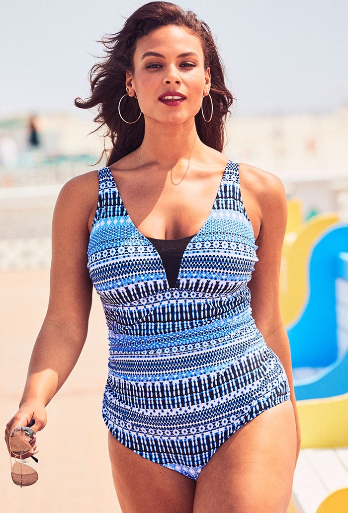 Blue Mesh Inset V-Neck One Piece Swimsuit