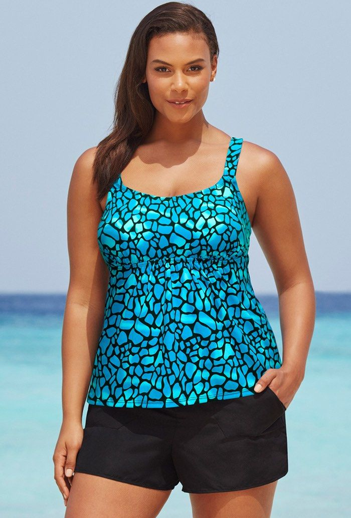 Blue Teal Flared Tankini Set with Cargo Short