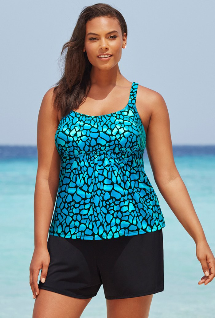Blue Teal Flared Tankini Set with Short