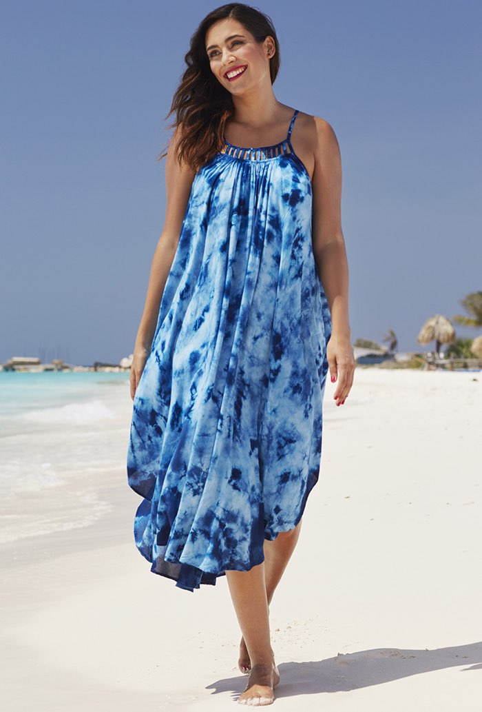 Blue Tie Dye Maxi Dress Swimsuit Cover Up