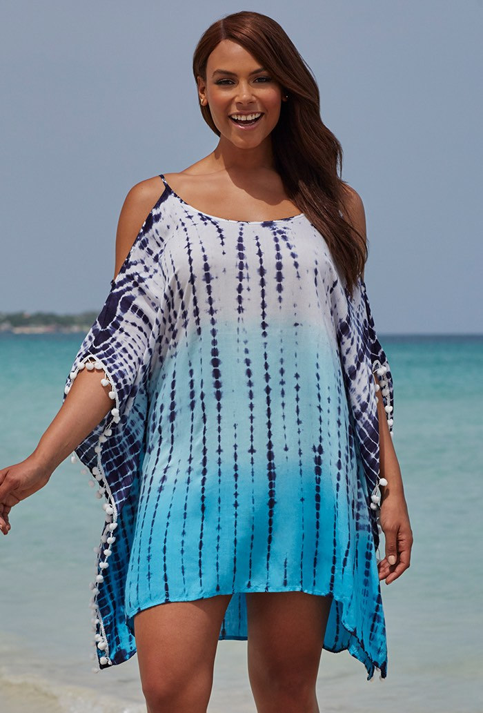Blue Tie Dye Tunic Swimsuit Cover Up