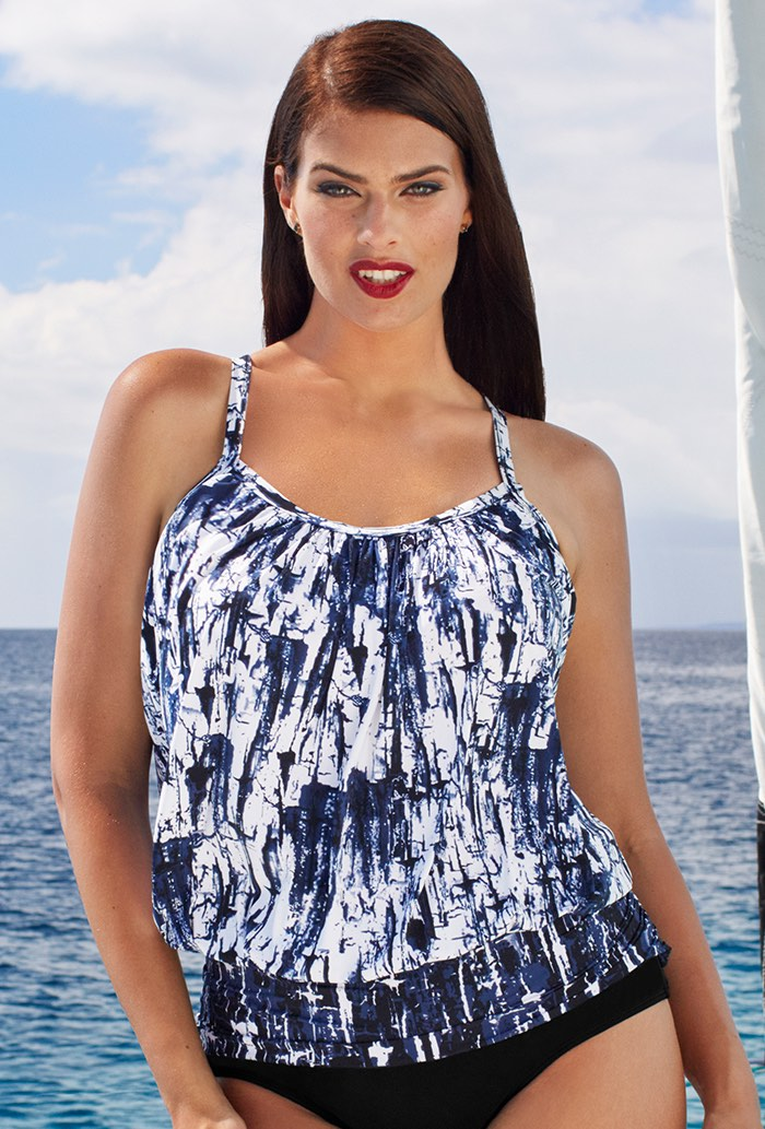 Blue White Blouson Tankini Top