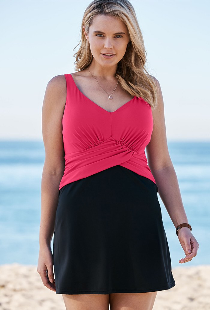 Bright Fuchsia Faux Wrap Underwire Swimdress Plus Size Swimwear