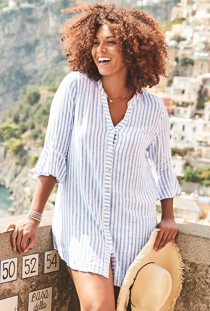 Button Up Beach Cover Up Shirt