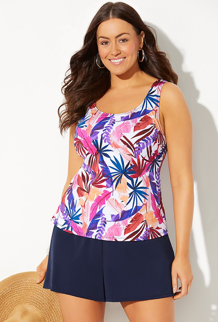 Classic Tankini with Navy Loose Short