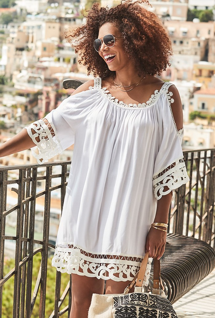 Cold Shoulder Beach Cover Up with Lace