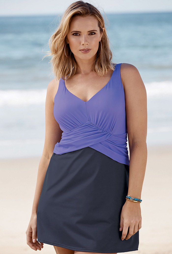 Dusty Purple Faux Wrap Underwire Swimdress Plus Size Swimwear
