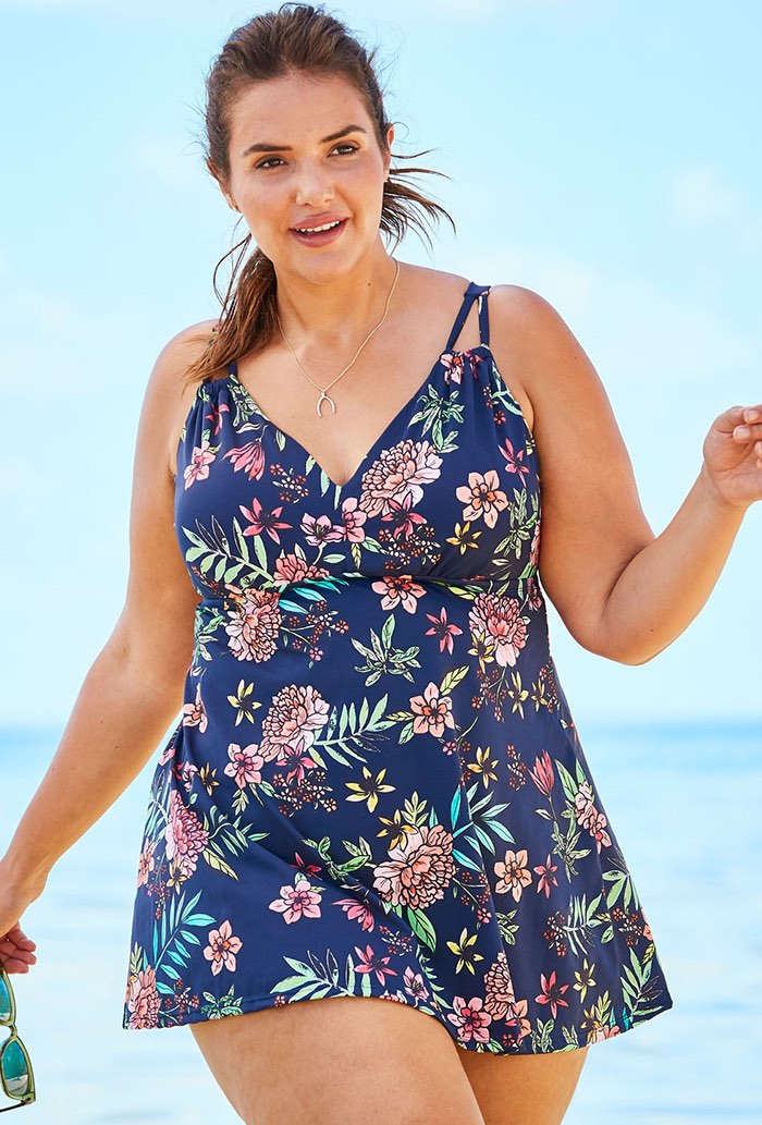 Floral 2 Piece V-Neck Swimdress
