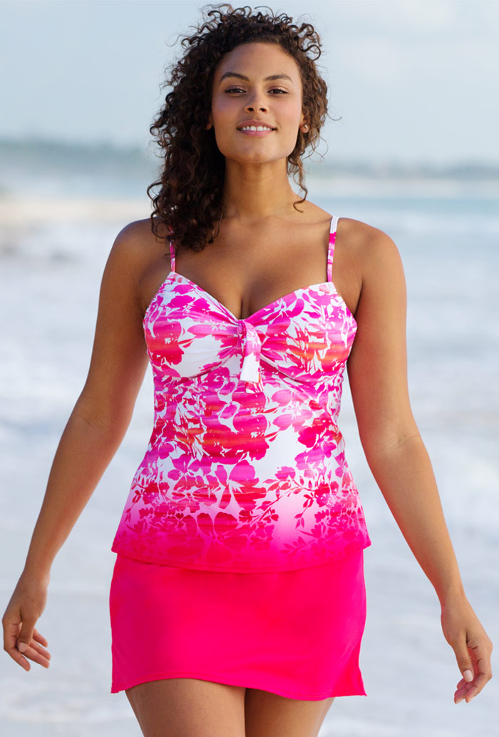 Floral Tie Front Underwire Tankini Set with Skirt