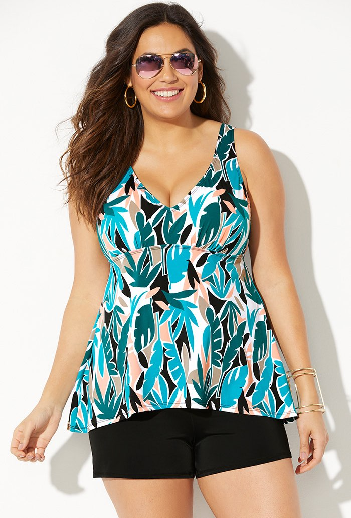 Flowy Tankini with Banded Short
