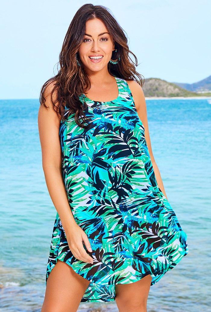 Green Palm High Low Tunic Swimsuit Cover Up