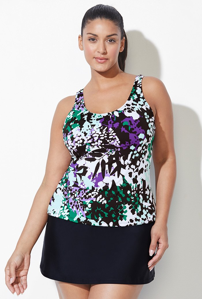 Green Purple Floral Tankini Set with Skirt
