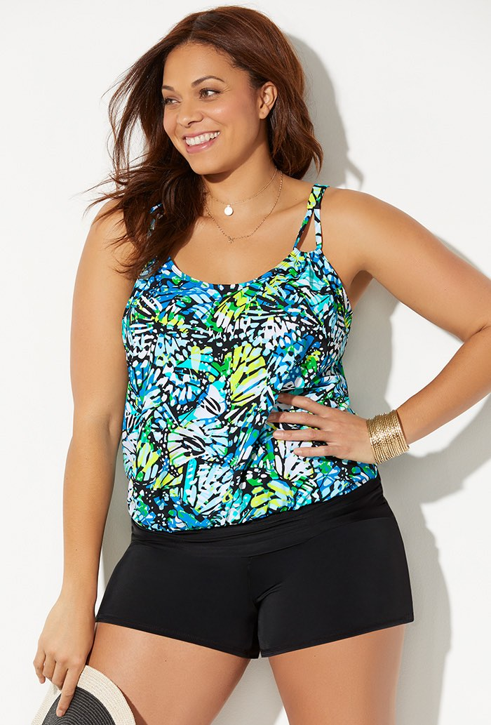 Loop Strap Blouson Tankini with Banded Short