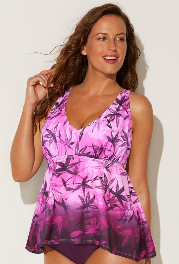 Pink Floral Flowy Tankini Top