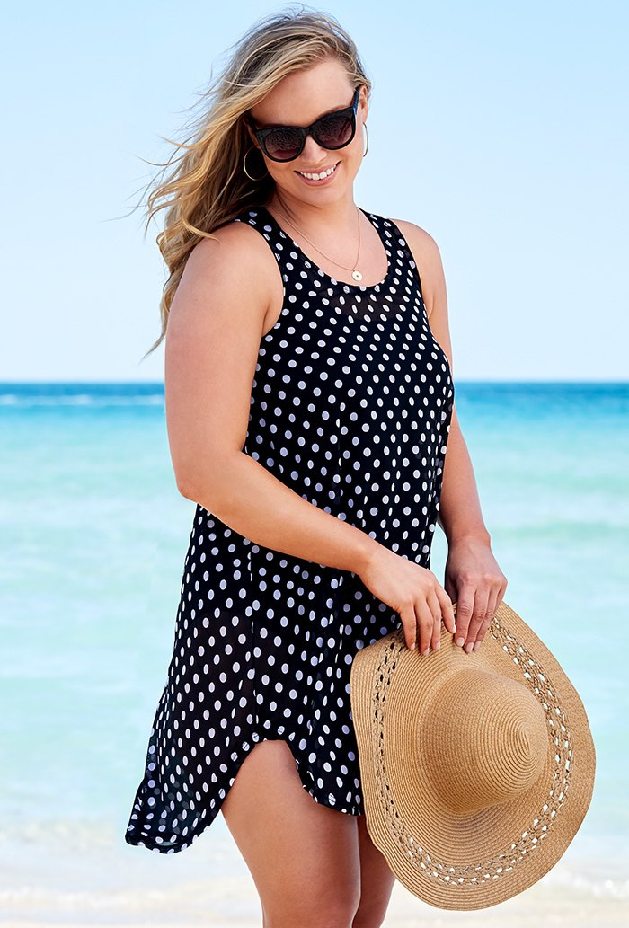 Polka Dot High Low Tunic Swimsuit Cover Up