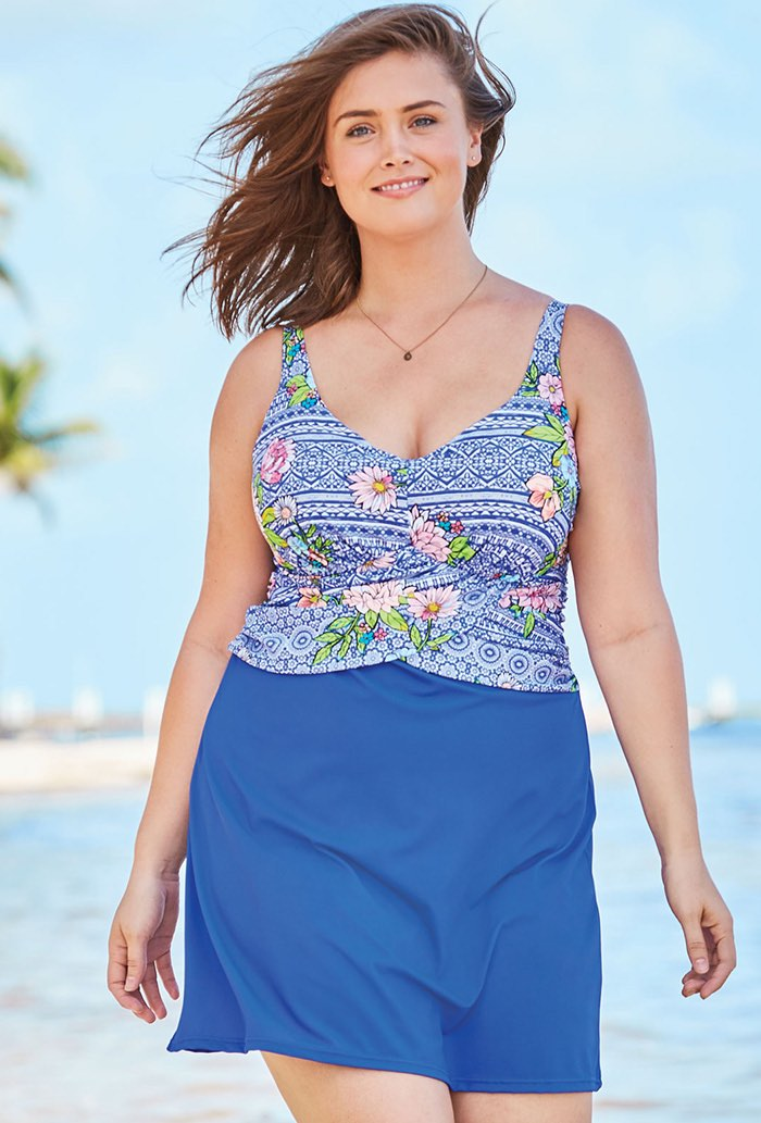 Pretty Floral Faux Wrap Underwire Swimdress Plus Size Swimwear
