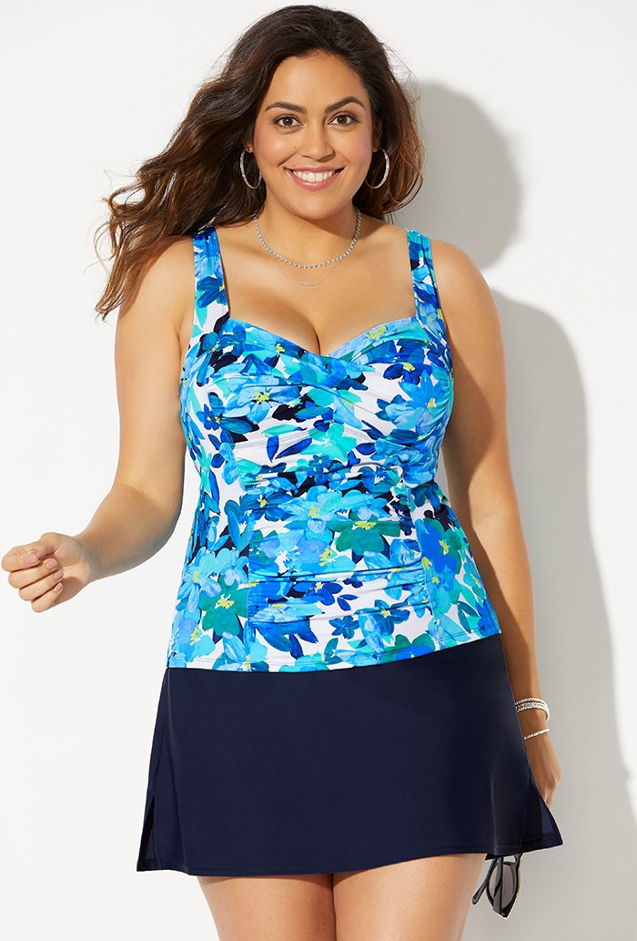 Ruched Twist Front Tankini with Navy Slit Skirt